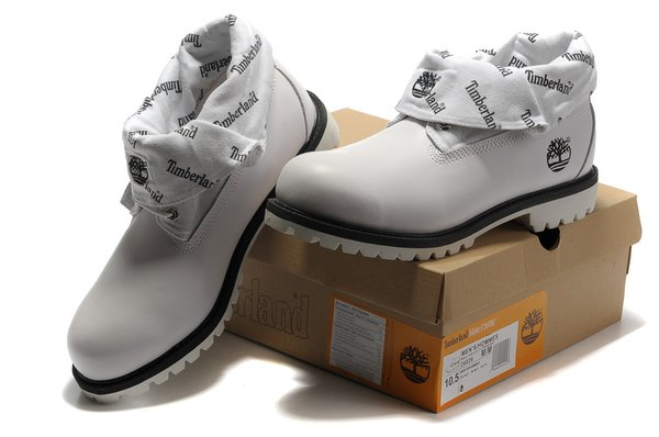 Men's Timberland Roll Top Cowboy Neck 26026 Classic-White Black Boots