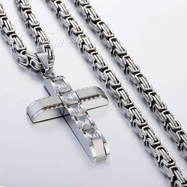 Men's 5mm 22Inch Stainless Steel Carved Link Chain With Cross Charm