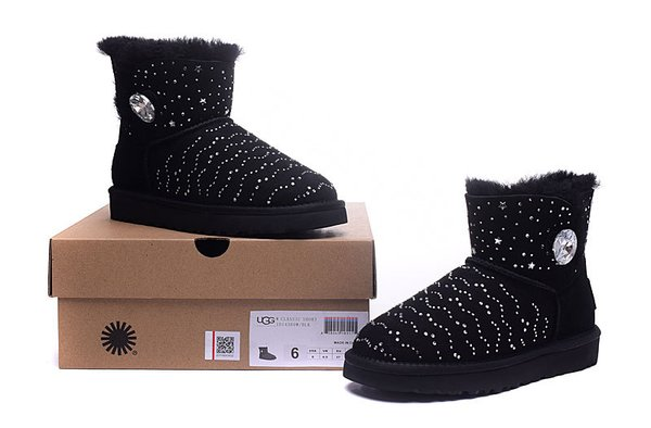 Ladies UGG Black Custom Stone Studded Mini Bailey Button Bling Boots (USA LADIES SIZE 5 - 8 ONLY)