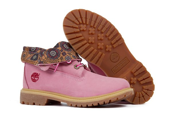 Ladies Pink Timberland Authentic Fold-Down Boots