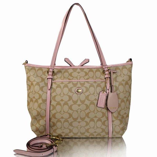 Ladies Coach Signature Canvas Tote Bag 25373