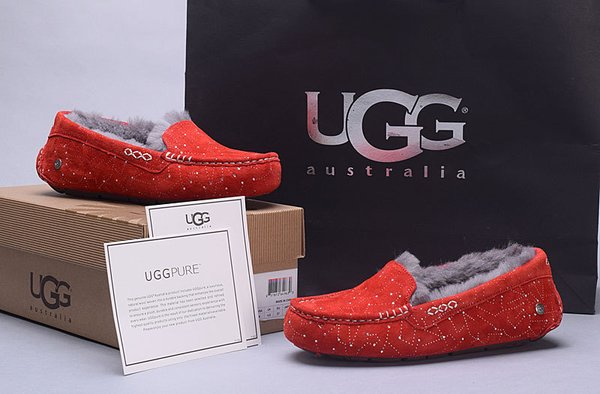 Ladies UGG Pure Red Custom Ansley Universe Star Studded Slippers (USA LADIES SIZE 5 - 8 ONLY)