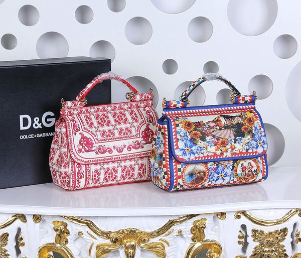 Vintage Dolce & Gabbana Sicily Handbag In Printed Dauphine Leather (9-10)
