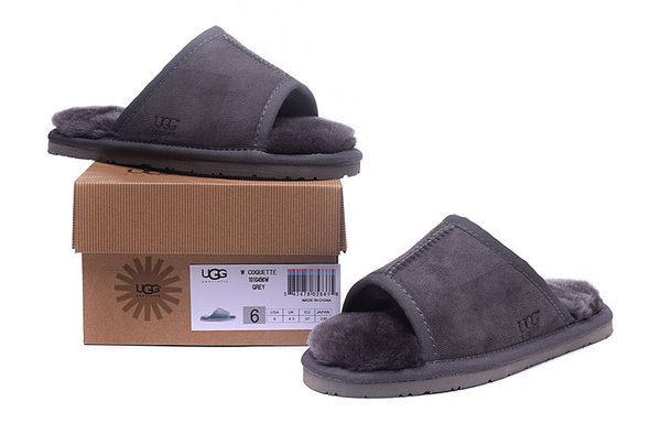 Ladies UGG Grey Sheepskin Open-Toed Slippers (USA LADIES SIZE 5 - 12 ONLY)
