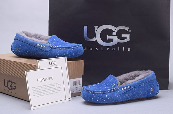 Ladies UGG Pure Blue Custom Ansley Universe Star Studded Slippers (USA LADIES SIZE 5 - 12 ONLY)