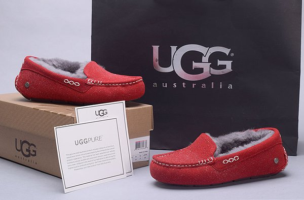 Ladies UGG Pure Red Custom Ansley Glitter Studded Slippers (USA LADIES SIZE 5 - 8 ONLY)