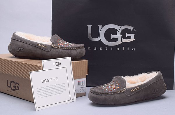 Ladies UGG Pure Grey Custom Ansley Crystal Slippers (USA LADIES SIZE 5 - 8 ONLY)