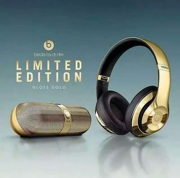 Beats Studio 2 Gloss Gold Wireless On Ear Headphones & Pill 2.0 Portable Bluetooth Speaker (Special Edition)