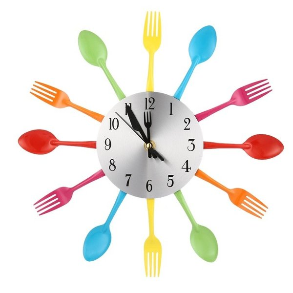 Large 3D Stainless Steel Kitchen Wall Clock