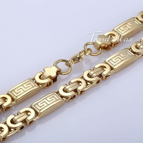 Men's 8mm Stainless Steel Gold Plated Greek Chain