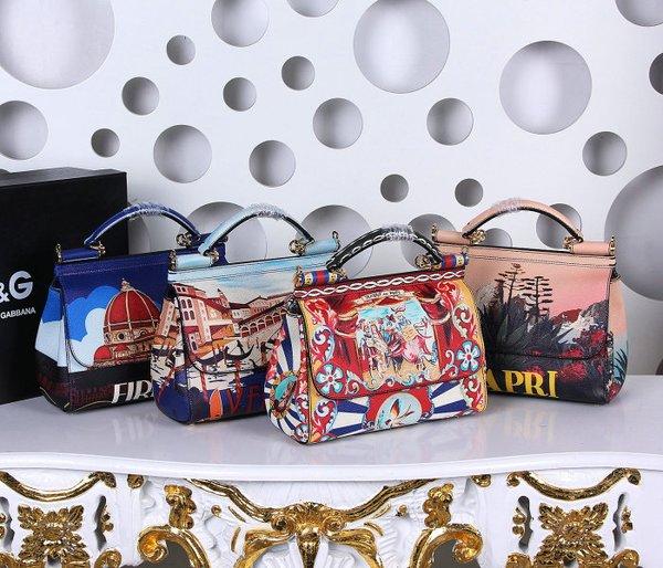 Vintage Dolce & Gabbana Sicily Handbag In Printed Dauphine Leather (5-8)