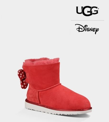Ladies UGG Red Custom Sweetie Bow Disney Boots (USA LADIES SIZE 5 - 8 ONLY)