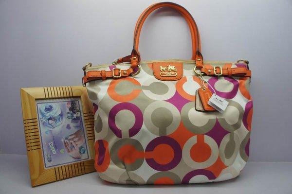 Ladies Coach Orange & Multicolor Signature Canvas Satchel
