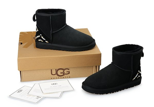 Ladies UGG Custom Black Knit Classic Mini Boots (USA LADIES SIZE 5 - 8 ONLY)