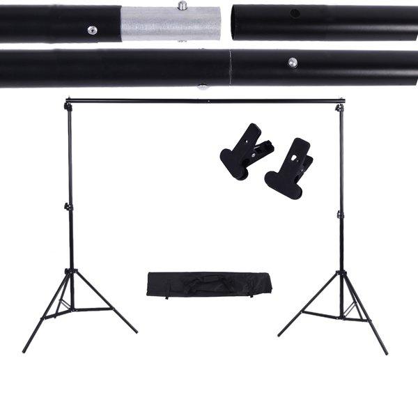 2 * 3m / 6.6 * 9.8ft Adjustable Background Support Stand Photo Backdrop Crossbar Kit