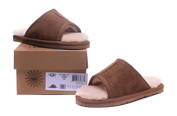 Ladies UGG Brown Sheepskin Open-Toed Slippers (USA LADIES SIZE 5 - 12 ONLY)