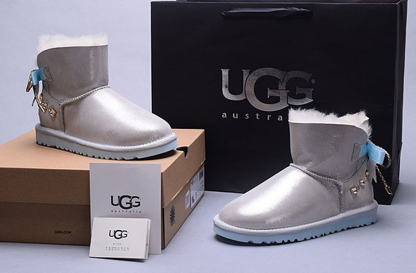 Ladies UGG Grey Custom Leather Classic Mini Bailey Bow Boots (USA LADIES SIZE 5 - 8 ONLY)