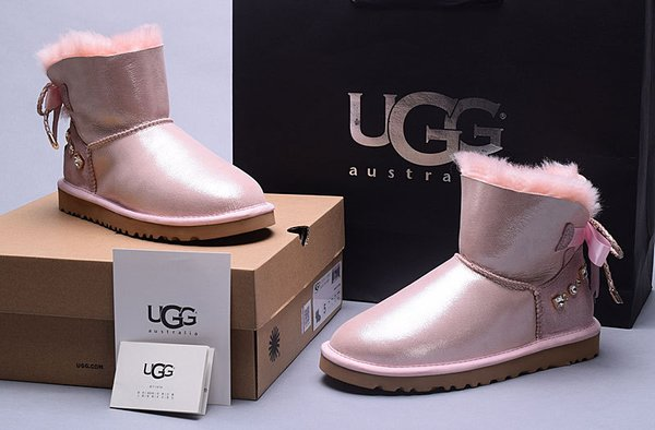 Ladies UGG Pink Custom Leather Classic Mini Bailey Bow Boots (USA LADIES SIZE 5 - 8 ONLY)