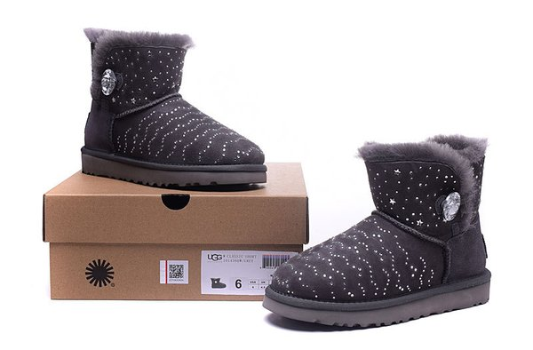 Ladies UGG Grey Custom Stone Studded Mini Bailey Button Bling Boots (USA LADIES SIZE 5 - 8 ONLY)