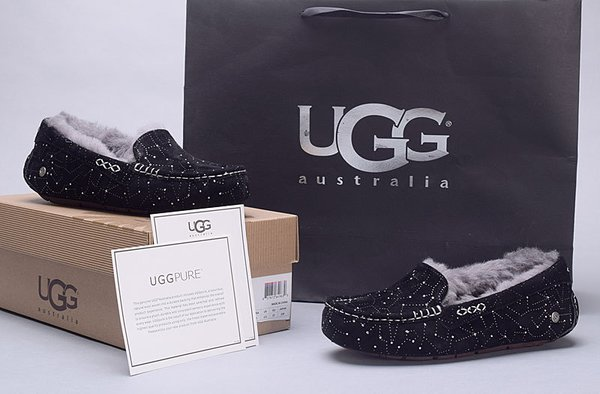 Ladies UGG Pure Black Custom Ansley Universe Star Studded Slippers (USA LADIES SIZE 5 - 8 ONLY)