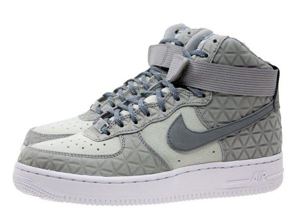 Ladies Nike Air Force 1 Hi Premium Suede Silver Sneakers