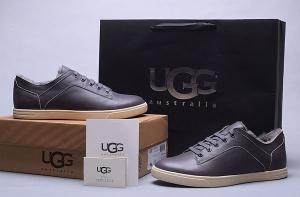 Men's UGG Custom Chocolate Leather Low Brock Lace-up Sneakers