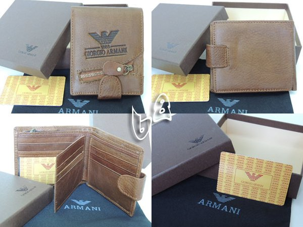 Men's Armani Custom Leather Bi-fold Wallet B