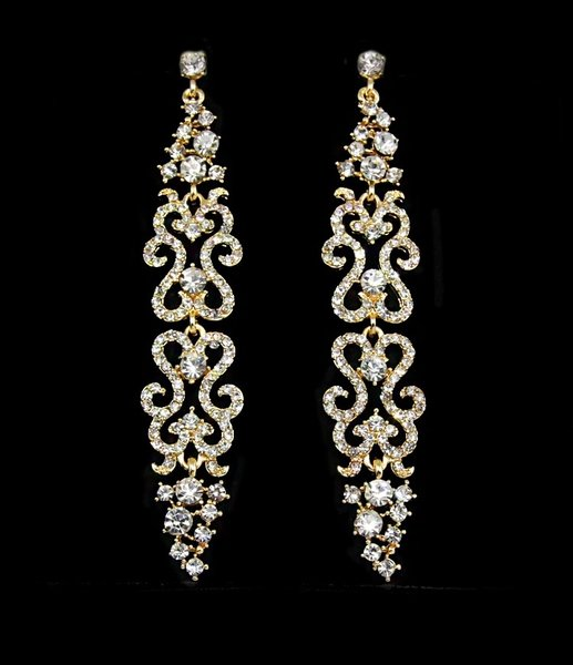 Crystal chandelier earrings - gold | Spire Gems