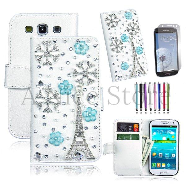 Samsung Galaxy S3 Luxury Magnetic Flip 3D Bling Handmade Leather Flip Wallet Case