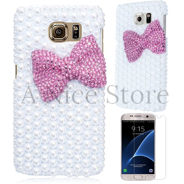 Samsung Galaxy S7 Edge Luxury 3D New Bling Handmade Pink Pearl Bow-knot Design Case Cover