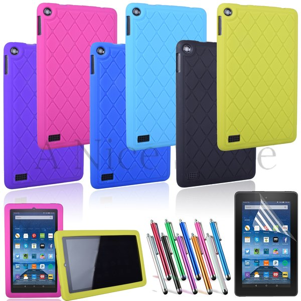 """NEW Amazon Kindle Fire 7"""" [2015 edition] Soft Silicon Slip Resistant Back Cover"""