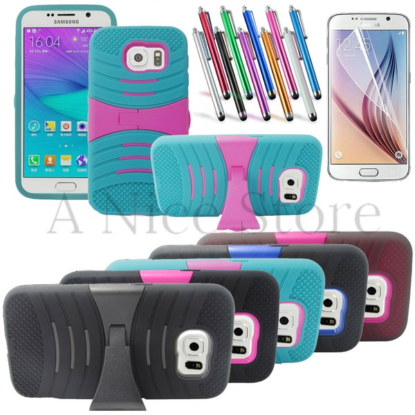 Galaxy S6 Case Heavy Duty Hybrid Case Cover With Kickstand