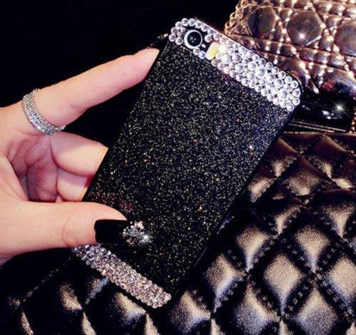 iPhone SE Glitter Bling Case,Luxury Slim 3D Bling Handmade Case for iPhone SE, Black