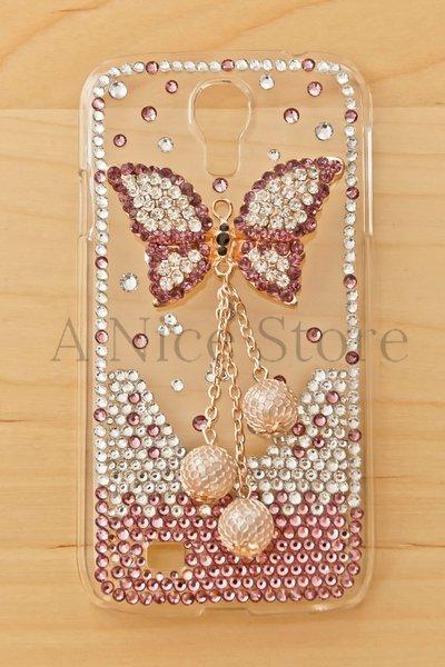Samsung Galaxy S4 Luxury 3D New Bling Handmade Crystal Glitter Purple Butterfly Design Case