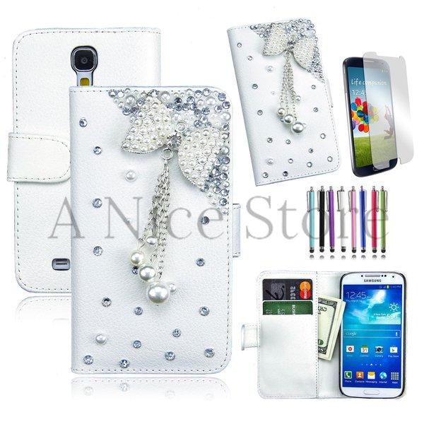 Samsung Galaxy S4 Luxury Magnetic Flip 3D Bling Handmade Leather Flip Wallet Case