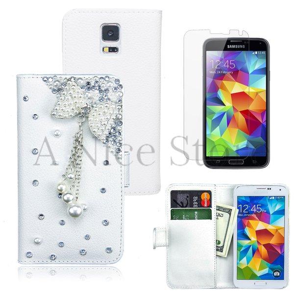 Samsung Galaxy S5 Luxury Magnetic Flip 3D Bling Handmade Butterfly Chain Leather Flip Wallet Case