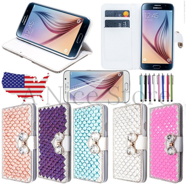 Samsung Galaxy S6 PU Leather Diamond Bling Wallet Case with Built In Kickstand