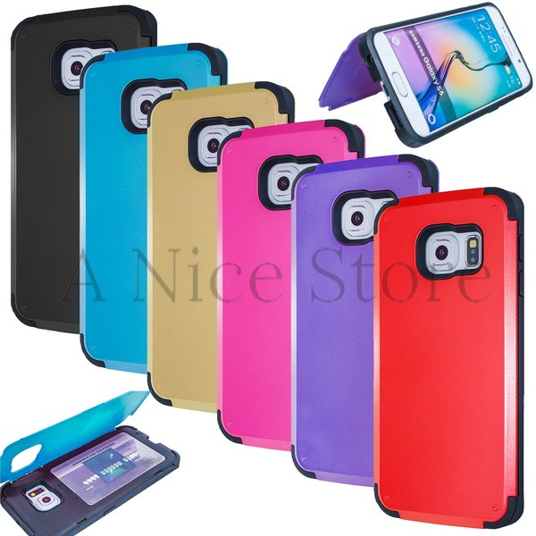 Samsung Galaxy S6 Slim Fit Credit Card Hard Case Cover Skin with Kickstand