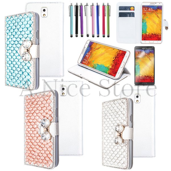 Samsung Galaxy Note 3 Luxury Magnetic Flip 3D Handmade Bling Gem Leather Flip Wallet Case