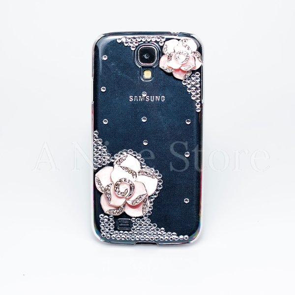 Samsung Galaxy S4 Luxury 3D New Bling Handmade Crystal Glitter Rose Pink Design Case