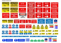 DEC15 Self-adhesive construction site sign decals 1:32 Scale by HLT