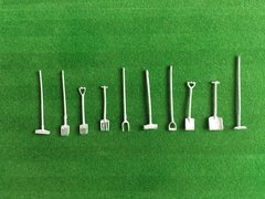 Unpainted Individual Farm Hand Tools 1:32 scale by HLT Miniatures