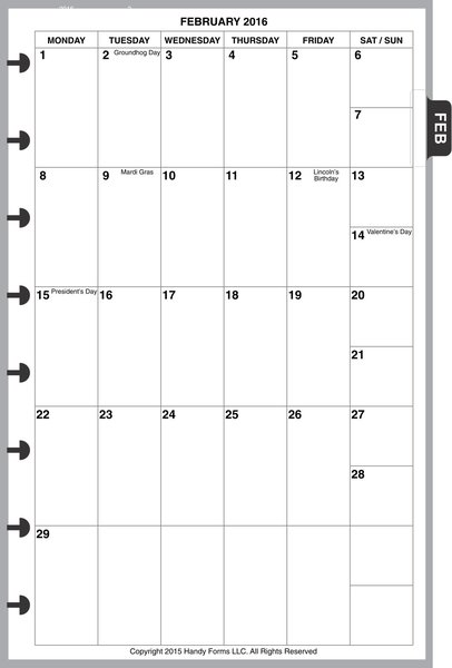 LVJ Monthly Planner, 1 Page per Month, 6 Columns, Vertical, No Lines