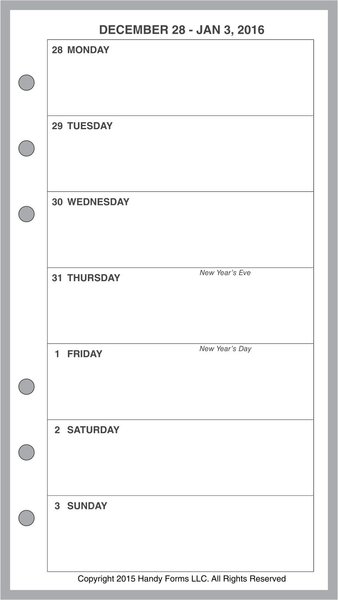 FPL Weekly Planner, 1 Page per Week, 2 Pages per Month, No Lines (Style A)