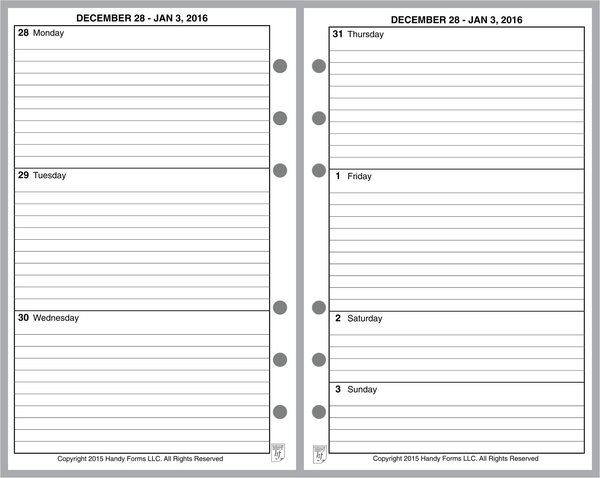 FCC Weekly Planner, 2 Pages per Week, 2 Pages per Month, with Lines, No Appt Times, Style B