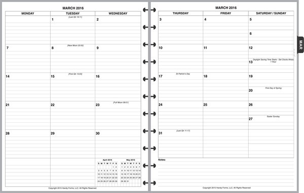 LVL Monthly Planner, 2 Pages per Month, 6-Columns, with Lines