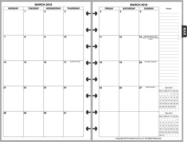 LVJ Monthly Planner, 4 Pages per Month, No Lines