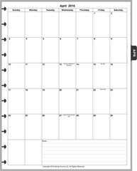 LVL Monthly Planner, 1 Page per Month, 7 Columns, Vertical, No Lines