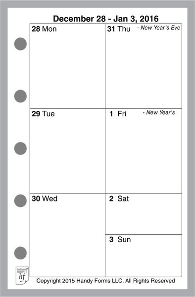 FMI Weekly Planner, 1 Page per Week, 2 Pages per Month, No Lines (Style V)