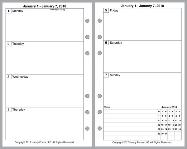 FCC Weekly Planner, 2 Pages per Week, 2 Pages per Month, No Lines, No Appt Times, Style A